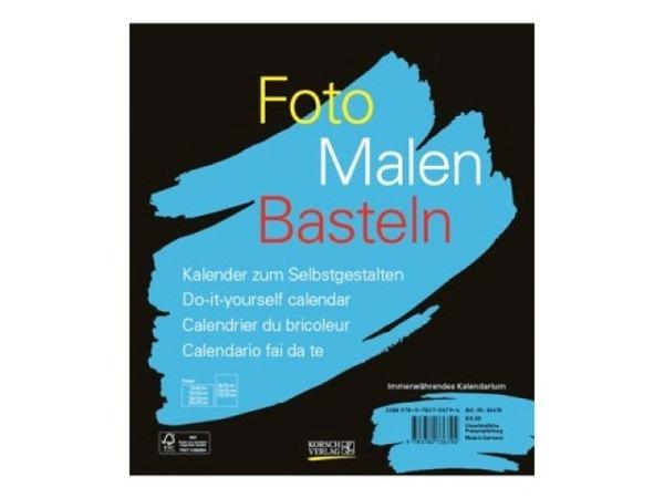 Bastelkalender Korsch Foto, Malen, Basteln schwarz 21,5x24cm Hochformat