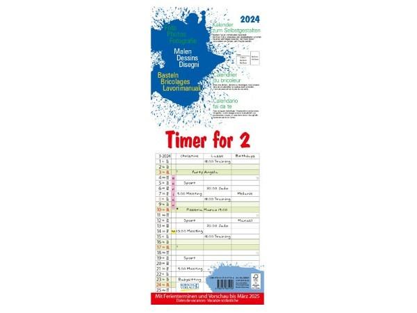 Familienplaner Korsch Timer for 2 Foto-Malen-Bastelkalender 19x52cm