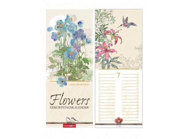 Geburtstagskalender Weingarten Flowers von Jane Crowther 13,5x34cm