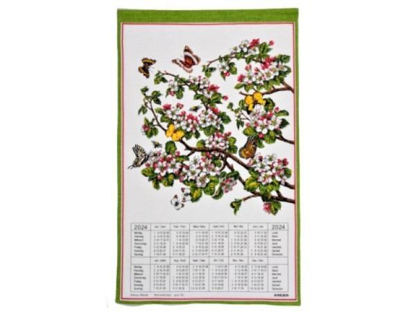 Stoffkalender Alpenblumen 43x68cm mit Holzstab