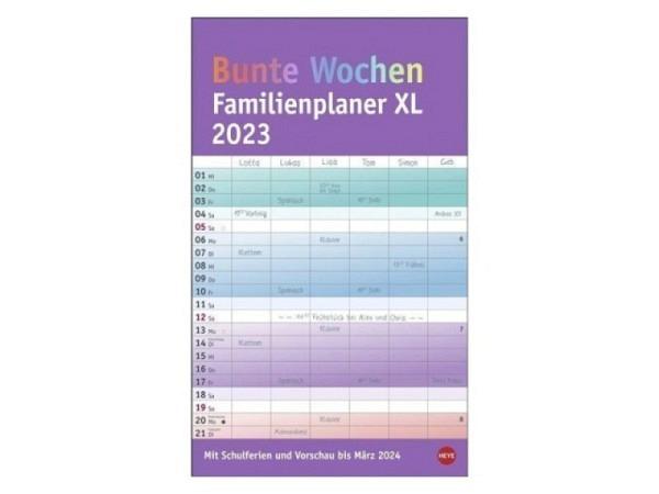 Familienplaner Heye XL Bunte Wochen 27x45cm