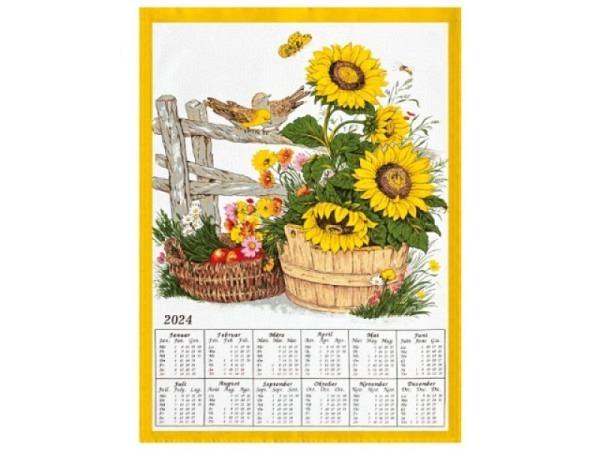 Stoffkalender Blumenkorb 45x65cm Holzstab und Aufhängekordel