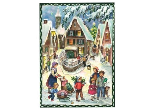 Adventskalender Sellmer A4, Nr. 1, ein winterliches Dorf