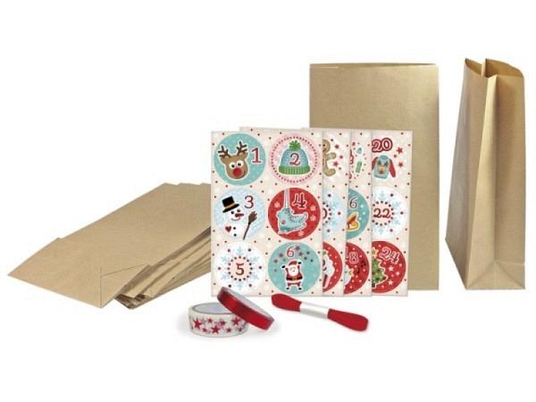 Adventskalender Set Kraftpapier Überraschung, 24 Papiertüten braun, inkl. Aufkleber Zahlen 1-24