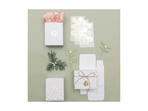 Adventskalender PaperPoetry Schachteln weiss-gold