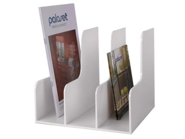 Kataloggestell Palaset weiss glanz mit drei Fächer je 7,5cm