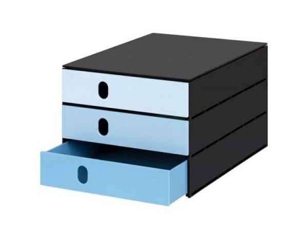 Büroset Styroval Systembox mit 3 Schubladen Bluescale