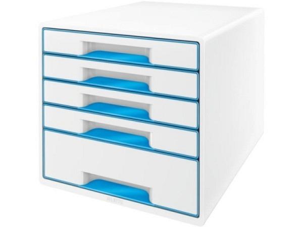 B�roset Leitz Wow Cube perlweiss-blau mit 4 Schubladen f�r A4-Formate, 2-farbiges Design in Hochglanz, leichtlaufende Schubladen mit Auszugsstopp, damit die Schubladen nicht herausfallen k�nnen, geschlossene Schubladenfront, mit ergonomischer Griffmulde..