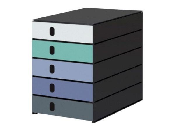 Büroset Exacompta Pop-Box weiss Harlekin mit 4 Schubladen