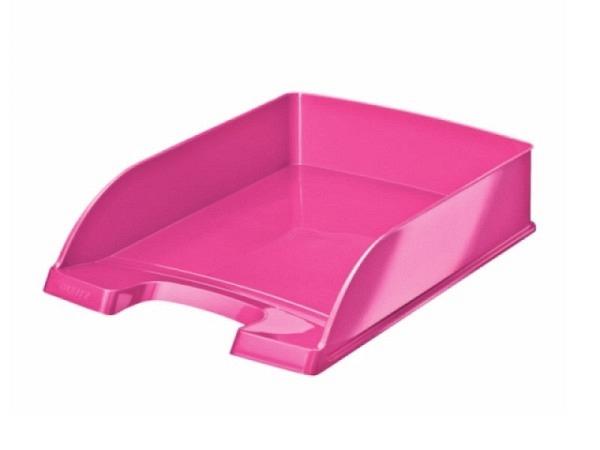 Briefkorb Leitz Wow Plus A4 pink metallic, aus Polystyrol, senkrecht oder versetzt stapelbar, grosser Greifausschnitt, vorne abgeschr�gt f�r bessere Papierentnahme, Innenmasse: (B)240x(T)340x(H)63mm, Au�enmasse: (B)255 x(T)357x(H)70mm, Originalnummer 52..