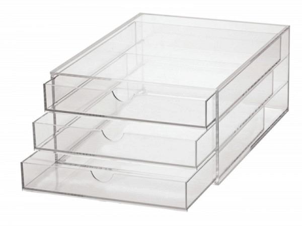 Büroset Maul Acryl farblos transparent A4 mit 3 Schubladen