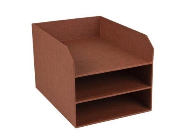 Briefkorb Bigso Box Leinenbezug Trey Rost, 3 Fächer, A4 hoch