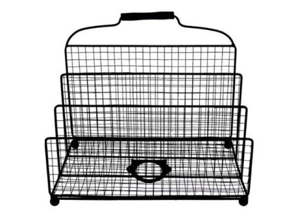 Kataloggestell aus Metall schwarz 30,5x20,5x26cm, vier Fächer