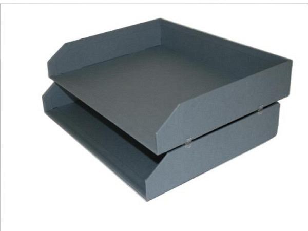 Briefkorb Bigso Box Papierbezug Kate Dusty Blau, 2er Pack, A4 quer, stapelbar