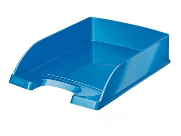 Briefkorb Leitz Wow Plus A4 blau metallic, aus Polystyrol, senkrecht oder versetzt stapelbar, grosser Greifausschnitt, vorne abgeschr�gt f�r bessere Papierentnahme, Innenmasse: (B)240x(T)340x(H)63mm, Au�enmasse: (B)255 x(T)357x(H)70mm, Originalnummer 52..
