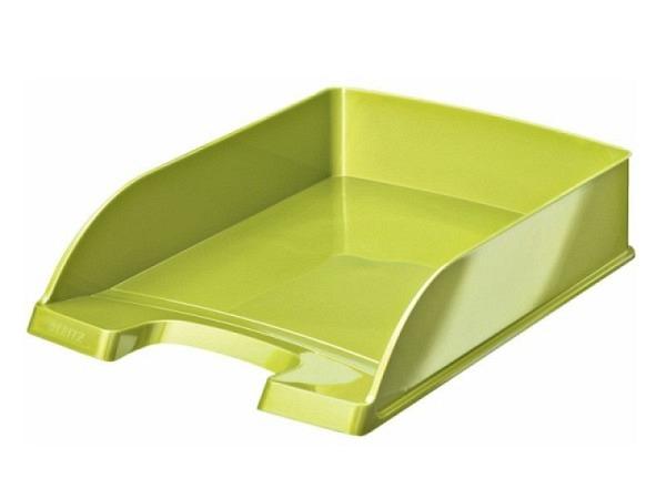 Briefkorb Leitz Wow Plus A4 gr�n metallic, aus Polystyrol, senkrecht oder versetzt stapelbar, grosser Greifausschnitt, vorne abgeschr�gt f�r bessere Papierentnahme, Innenmasse: (B)240x(T)340x(H)63mm, Au�enmasse: (B)255 x(T)357x(H)70mm, Originalnummer 52..