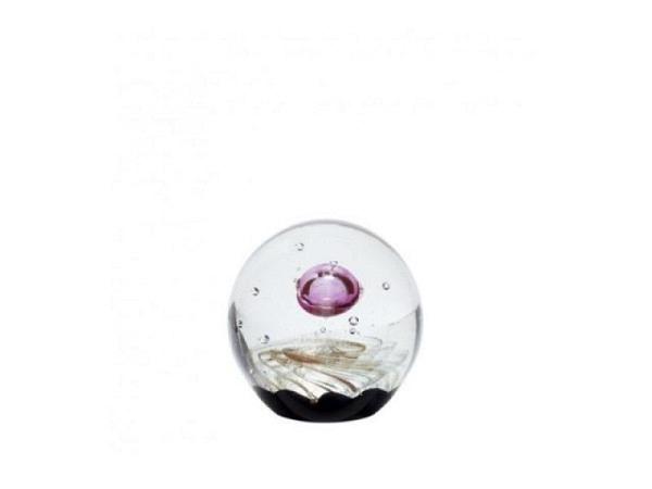 Briefbeschwerer Hübsch Glaskugel rosa mit Luftblasen Durchmesser 9cm