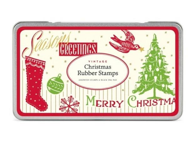 Stempel Cavallini Christmas Rubber Stamps im Retrostil 7 Stk
