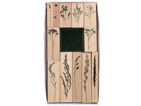 Stempel PaperPoetry Set Gräser, mit 12 Holzstempeln und einem Stempelkissen schwarz