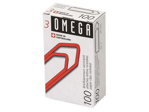 Büroklammern Omega 100Stk. Grösse 3, vernickelt, 28mm lang, in spitz laufend