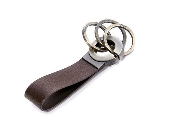 Schlüsselanhänger Troika Key Click braune Lederschlaufe