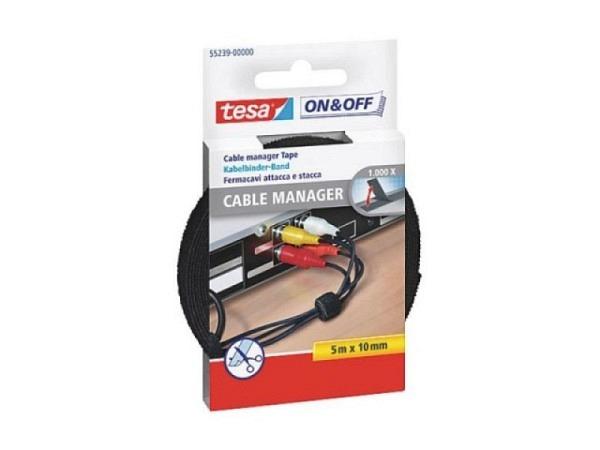 Klettverschluss Tesa Cable Manager schwarz 10mmx5m