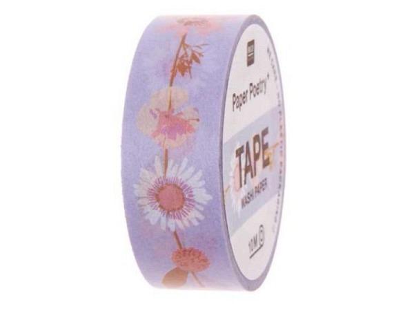Klebeband PaperPoetry Trockenblumen Blumenranken Flieder, 15mm breit, 10m lang
