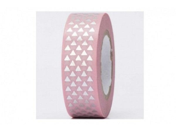 Klebeband PaperPoetry Hot Foil Dreiecke silber auf altrosa, 15mm breit, 10m lang. Selbstklebendes Wa