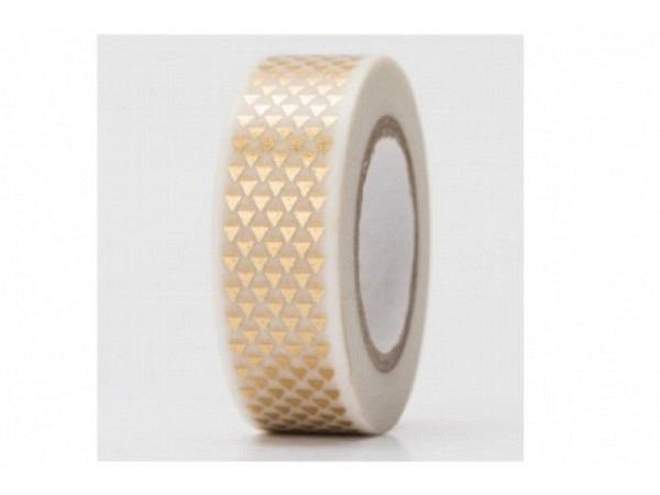 Klebeband PaperPoetry Hot Foil gold/silber Dreiecke gold, 15mm breit, 10m lang. Selbstklebendes Wash