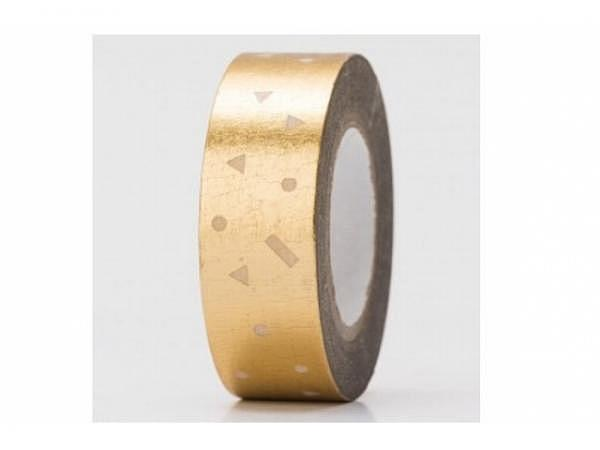 Klebeband PaperPoetry Hot Foil gold/silber Konfetti gold, 15mm breit, 10m lang. Selbstklebendes Wash