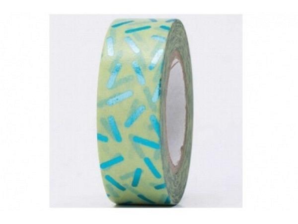 Klebeband PaperPoetry Hot Foil Stracciatella Stäbchen grün auf mint, 15mm breit, 10m lang. Selbstkle