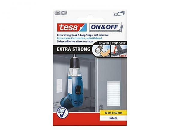 Klettverschluss Tesa On & Off 5x10cm weiss