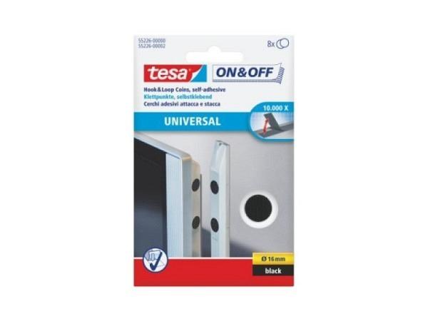 Klettverschluss Tesa On-Off rund 16mm schwarz 8 zweier Set
