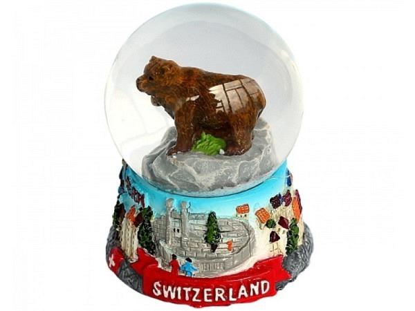 Magnet Schneekugel Berner Bär, handbemalt aus Gips