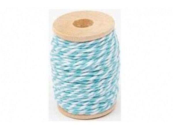 Schnur PaperPoetry Baumwollgarn Türkis/Weiss, aus 100% Baumwolle, 15 Meter auf Holzspule aufgespult