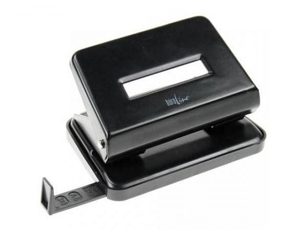 Locher Büroline schwarz Metall mit Anschlagschine