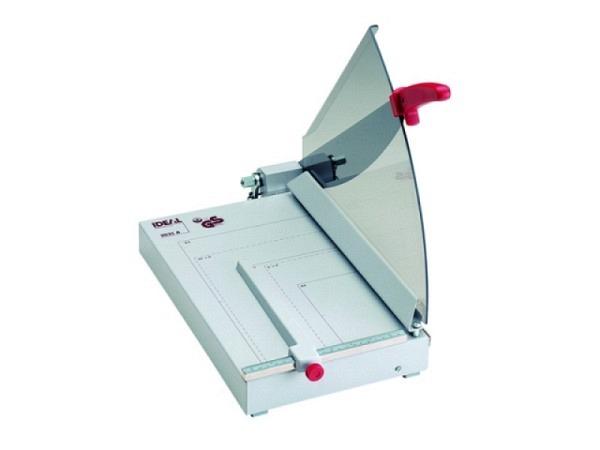 Schneidmaschine Ideal Hebelschnitt 1135 35cm Schnittl�nge, Schneidetisch 304x385mm, Ganzmetall, nachschleifbares Messer, mit automatischer Pressung, bis ca. 25Blatt, ersetzt Ideal 2035, integrierter Schnittandeuter, rutschfeste F�sse