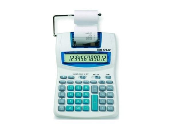 Tischrechner Ibico 1214X mit Prozentfunktion und Rundungsautomatik, Tausenderunterteilung und Doppelnulltaste, grosses Display mit Anzeige von Datum und Uhrzeit, W�hrungsumrechnung, Steuer- und Margenberechnung, Druckmodus in schwarz/rot ein und ausscha..