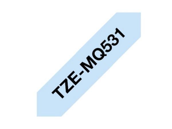 Beschriftungsband Brother P-Touch TZe 12mm breit, schwarz auf pastellblau