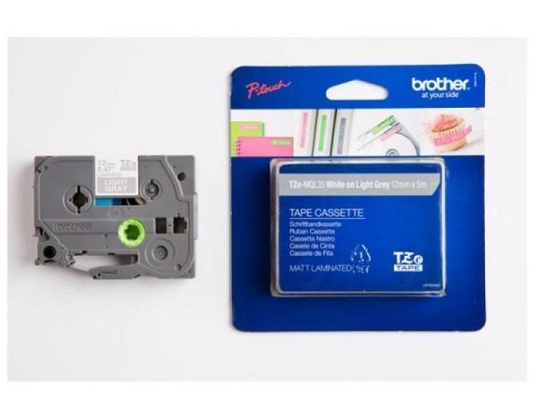 Beschriftungsband Brother P-Touch TZe 12mm breit, weiss auf grau