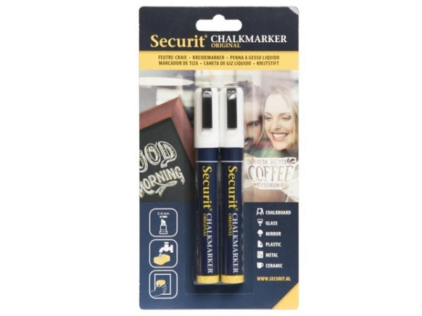 Filzstift Securit Kreidemarker Waterproof SMA610 2er-Set weiss