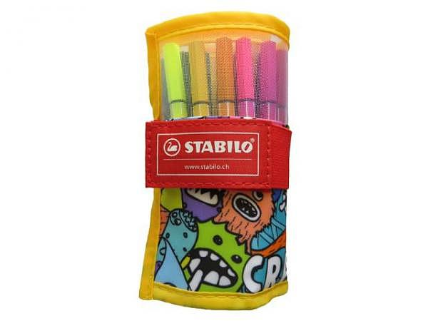 Filzstift Stabilo Pen 68 Mini 20er Rollerset gelb Monster zum Aufrollen