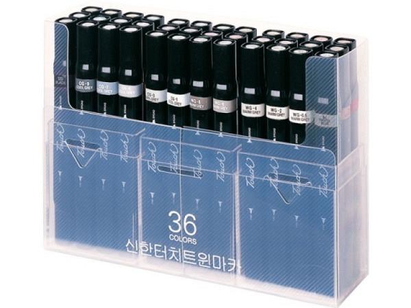 Filzstift Touch Doppelspitz Set 36er Kunstoffverpackung, ein Spitz abgeschr�gt 1,5-6mm, ein Spitz rund 1mm, alkoholhaltig, erm�glicht absolut gleichm�ssige Fl�che und saubere Farb�berg�nge, enthaltene Farben: 2, 3, 6, 11, 23, 25, 37, 43, 44, 46, 48, 50,..