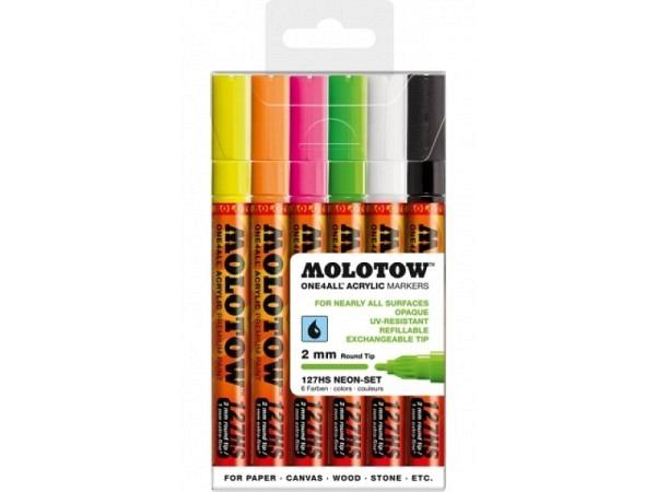 Filzstift Molotow One4all 127HS 6er Set Neon, 2mm rund
