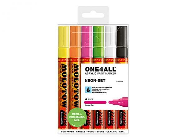 Filzstift Molotow One4all 227HS 6er Set Neon, 4mm
