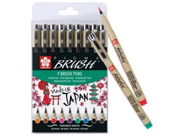 Pinselstift Sakura Pigma Brush Set 9er farbig