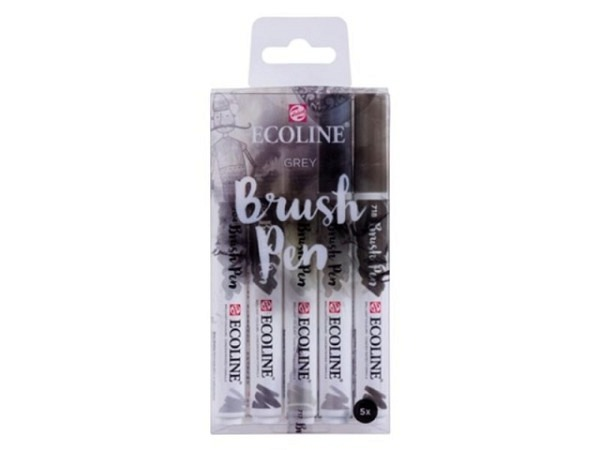 Pinselstift Talens Ecoline Brush Pen 5er Set Grey Grautöne
