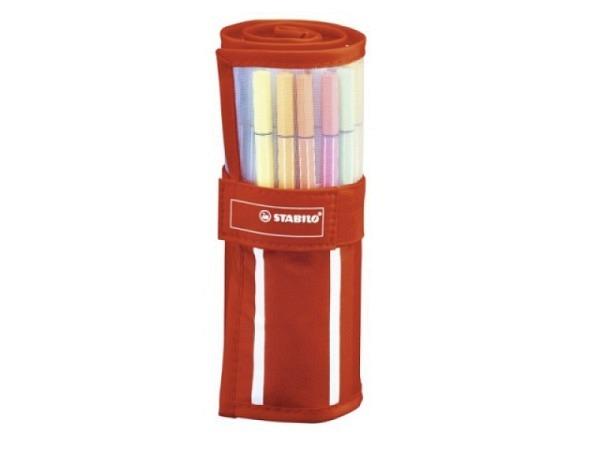 Filzstift Stabilo Pen 68i 30er Rollerset rot/weiss gestreift zum Aufrollen