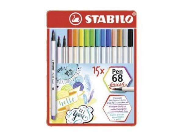 Filzstift Stabilo Pen 68 brush 15er Metalletui, Pinselstift mit wasserbasierter, deckender, farbsatt