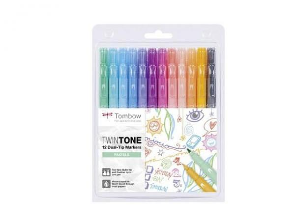 Filzstift Tombow TwinTone Pastel Colors 12er Set
